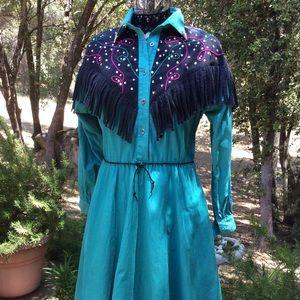 Dresses & Skirts - Vintage 1980 Diamond L Black Denim Western Dress 8